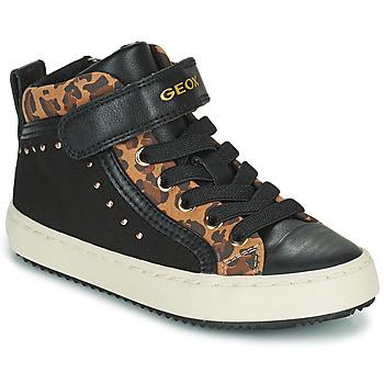 Sko Pige Høje sneakers Geox KALISPERA Sort / Leopard