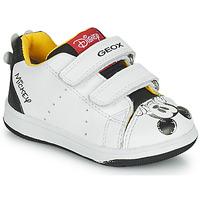 Sko Dreng Lave sneakers Geox NEW FLICK Hvid / Sort / Rød
