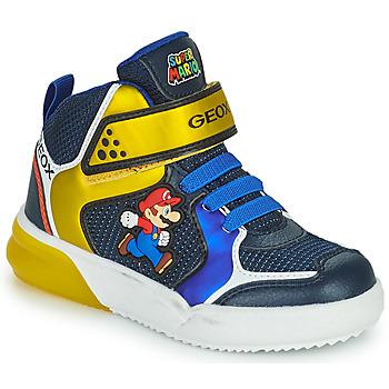 Sko Dreng Høje sneakers Geox GRAYJAY Blå / Gul