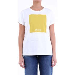textil Dame T-shirts m. korte ærmer Manila Grace S0JT272CU White and yellow