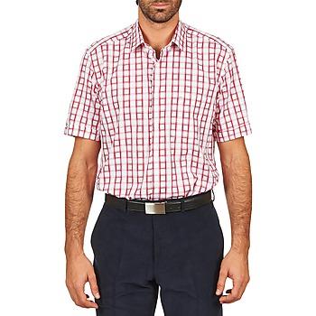 textil Herre Skjorter m. korte ærmer Pierre Cardin CH MC CARREAU GRAPHIQUE Hvid / Rød