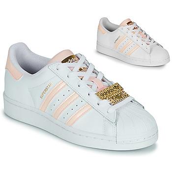 Sko Dame Lave sneakers adidas Originals SUPERSTAR W Hvid / Pink / Smykke