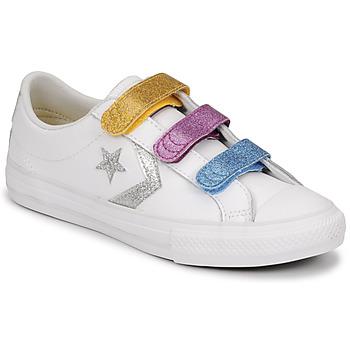 Sko Pige Lave sneakers Converse STAR PLAYER 3V GLITTER TEXTILE OX Hvid / Flerfarvet