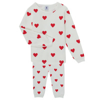 textil Pige Pyjamas / Natskjorte Petit Bateau CASSANDRE Hvid / Rød