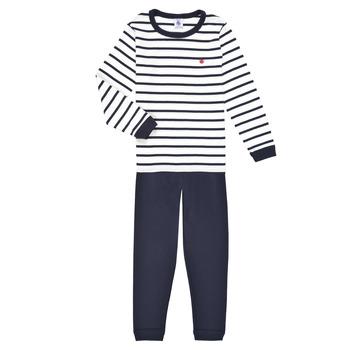 textil Dreng Pyjamas / Natskjorte Petit Bateau TECHI Hvid / Blå