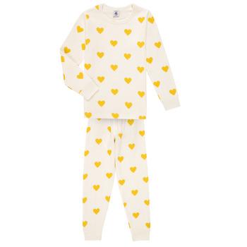 textil Pige Pyjamas / Natskjorte Petit Bateau LERINU Hvid / Gul