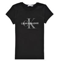 textil Pige T-shirts m. korte ærmer Calvin Klein Jeans VOYAT Sort