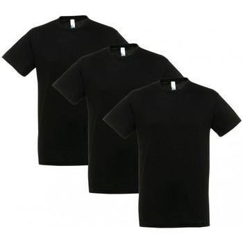 Se T-shirts m. korte ærmer Sols  PACK 3 CAMISETAS NEGRAS COTTON ved Spartoo
