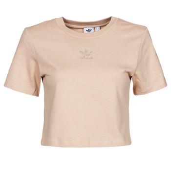 textil Dame T-shirts m. korte ærmer adidas Originals CROPPED  TEE Beige
