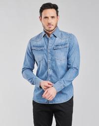 textil Herre Skjorter m. lange ærmer G-Star Raw 3301 SLIM SHIRT LS Blå