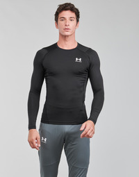 textil Herre Langærmede T-shirts Under Armour UA HG ARMOUR COMP LS Sort / Hvid