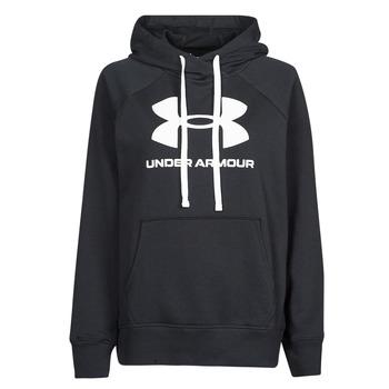 textil Dame Sweatshirts Under Armour RIVAL FLEECE LOGO HOODIE Sort / Hvid