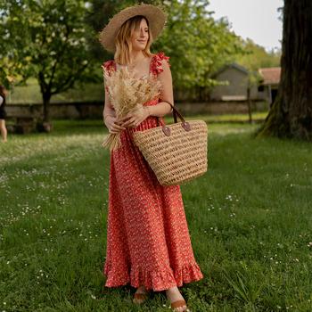 textil Dame Lange kjoler Céleste AURORE version courte Rød
