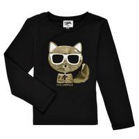 textil Pige Langærmede T-shirts Karl Lagerfeld AMETHYSTE Sort