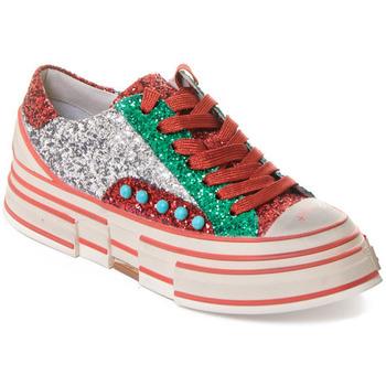 Sko Dame Sneakers Rebecca White T2208 |Rebecca White| D??msk?? st???brn??/?erven??/zelen?? t?pytiv?? t
