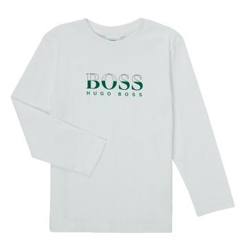 textil Dreng Langærmede T-shirts BOSS SOPELAS Hvid