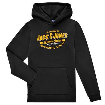 textil Dreng Sweatshirts Jack & Jones JJELOGO SWEAT HOOD Sort