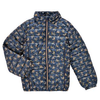 textil Pige Dynejakker Name it NKFMENE FLOWER JACKET Marineblå