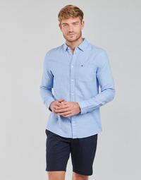 textil Herre Skjorter m. lange ærmer Tommy Jeans TJM LINEN BLEND SHIRT Blå