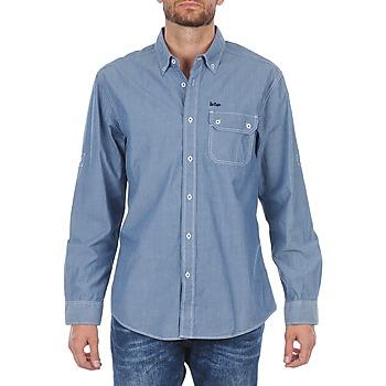 textil Herre Skjorter m. lange ærmer Lee Cooper Greyven Blå