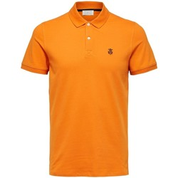 textil Herre Polo-t-shirts m. korte ærmer Selected Polo manches courtes  Aro embroidery russet orange