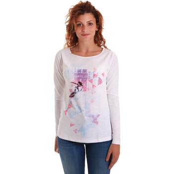 textil Dame Langærmede T-shirts Key Up 5G68S 0001 hvid