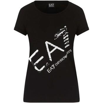 textil Dame T-shirts m. korte ærmer Ea7 Emporio Armani 3KTT28 TJ12Z Sort