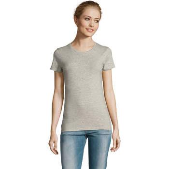 textil Dame T-shirts m. korte ærmer Sols Camiserta de mujer de cuello redondo Gris