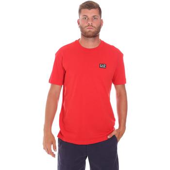 textil Herre T-shirts m. korte ærmer Ea7 Emporio Armani 3KPT63 PJ6EZ Rød