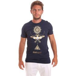 textil Herre T-shirts m. korte ærmer Roberto Cavalli HST65B Blå