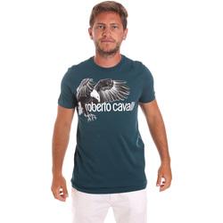 textil Herre T-shirts m. korte ærmer Roberto Cavalli HST68B Grøn