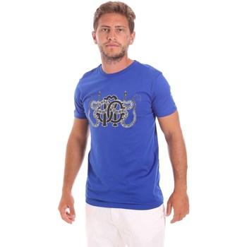 textil Herre T-shirts m. korte ærmer Roberto Cavalli HST66B Blå