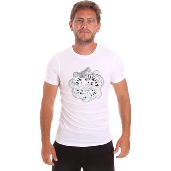 textil Herre T-shirts m. korte ærmer Roberto Cavalli HST64B hvid