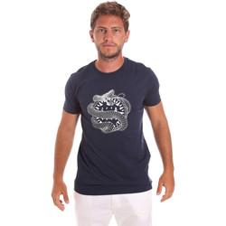 textil Herre T-shirts m. korte ærmer Roberto Cavalli HST64B Blå