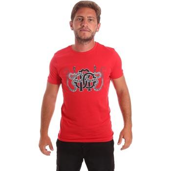 textil Herre T-shirts m. korte ærmer Roberto Cavalli HST66B Rød