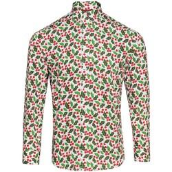 textil Herre Skjorter m. lange ærmer Christmas Shop CS001 Holly White