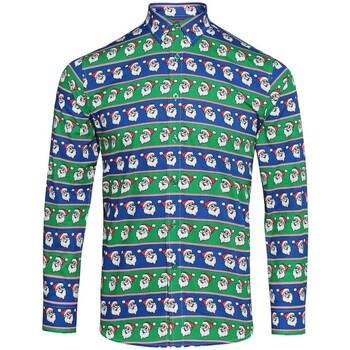 textil Herre Skjorter m. lange ærmer Christmas Shop CS001 Santa Blue/Green