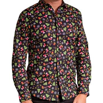 textil Herre Skjorter m. lange ærmer Christmas Shop CS001 Black Assorted