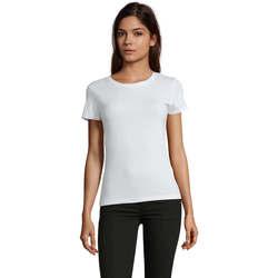 textil Dame T-shirts m. korte ærmer Sols REGENT FIT CAMISETA MANGA CORTA Blanco