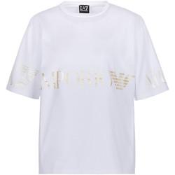 textil Dame T-shirts m. korte ærmer Ea7 Emporio Armani 3KTT18 TJ29Z hvid