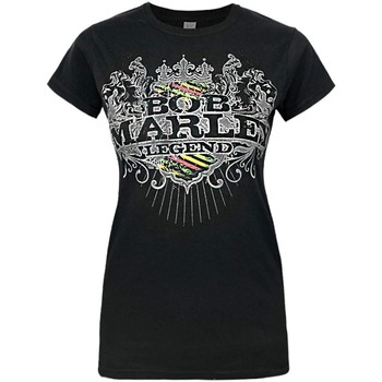 textil Dame T-shirts m. korte ærmer Bob Marley  Black