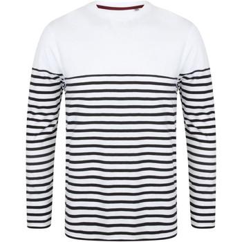 textil Herre Langærmede T-shirts Front Row FR134 White/Navy