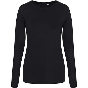 textil Dame Langærmede T-shirts Awdis JT02F Solid Black