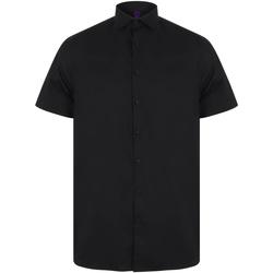 textil Herre Skjorter m. korte ærmer Henbury HB537 Black