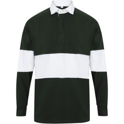 textil Polo-t-shirts m. lange ærmer Front Row FR07M Bottle Green/White