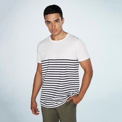 textil T-shirts & poloer Front Row FR135 White/Navy
