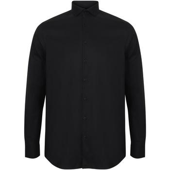 textil Herre Skjorter m. lange ærmer Henbury HB532 Black