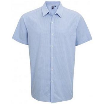 textil Herre Skjorter m. korte ærmer Premier PR221 Light Blue/White