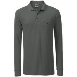 textil Herre Polo-t-shirts m. lange ærmer James And Nicholson  Dark Grey