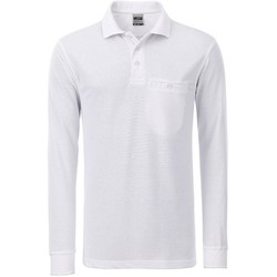 textil Herre Polo-t-shirts m. lange ærmer James And Nicholson  White